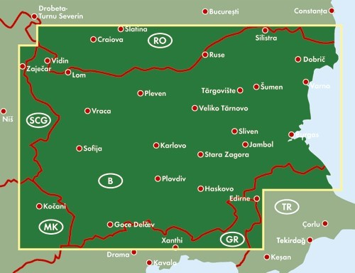 A Bulgária térkép által lefedett terület