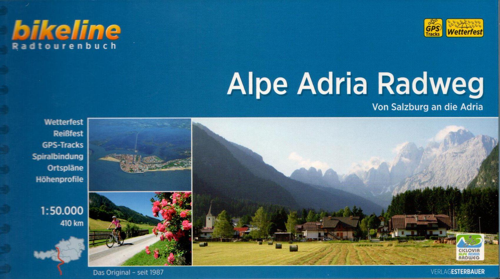 Spirál kötésű, 12 x 23 cm-es német nyelvű térképes utikönyv Salzburgtól az Alpokon át az Adriai-tengerig