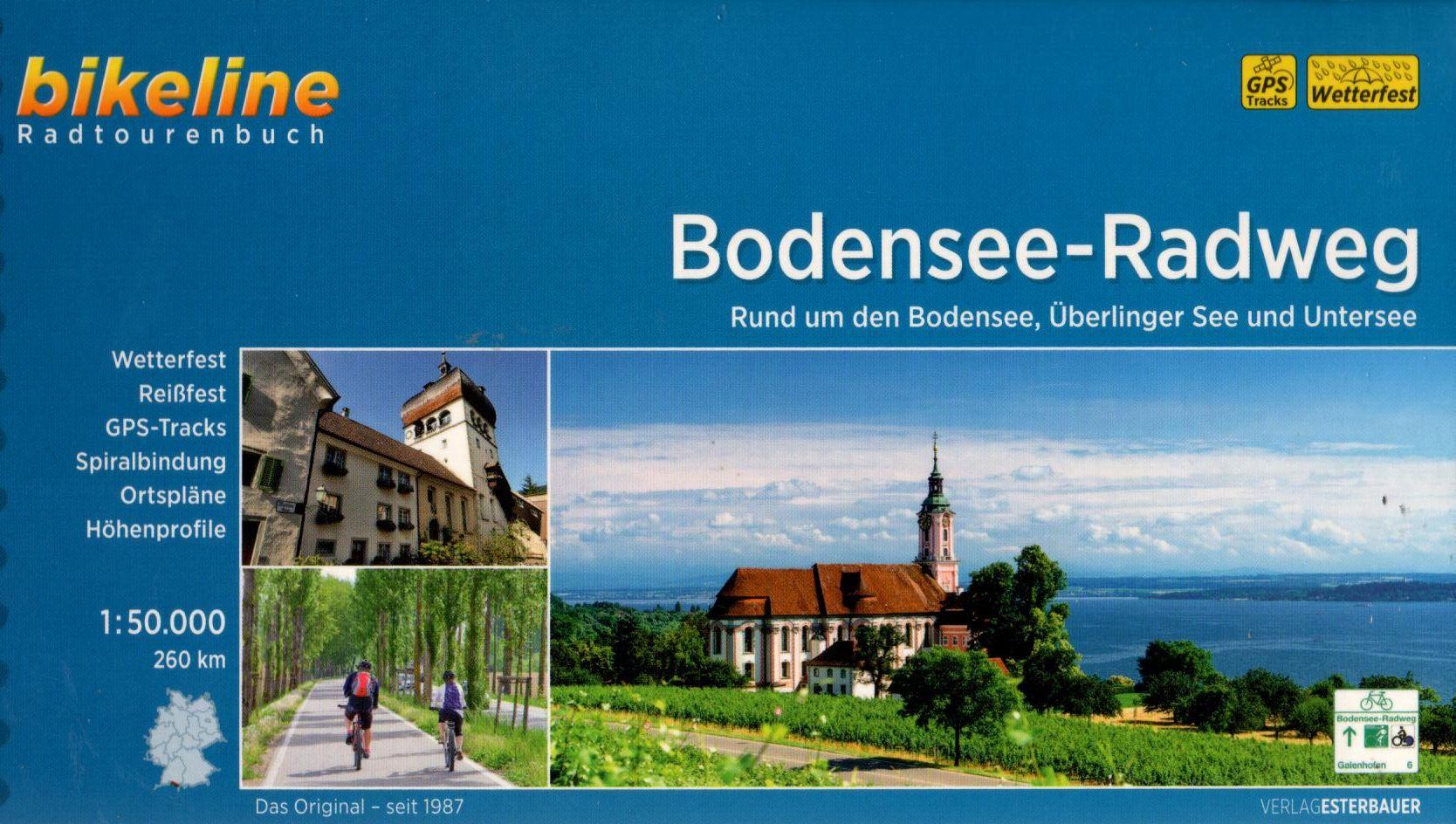 Spirál kötésű, 12 x 23 cm-es német nyelvű térképes utikönyv a Bodensee, Überlinger See és Untersee környékéről