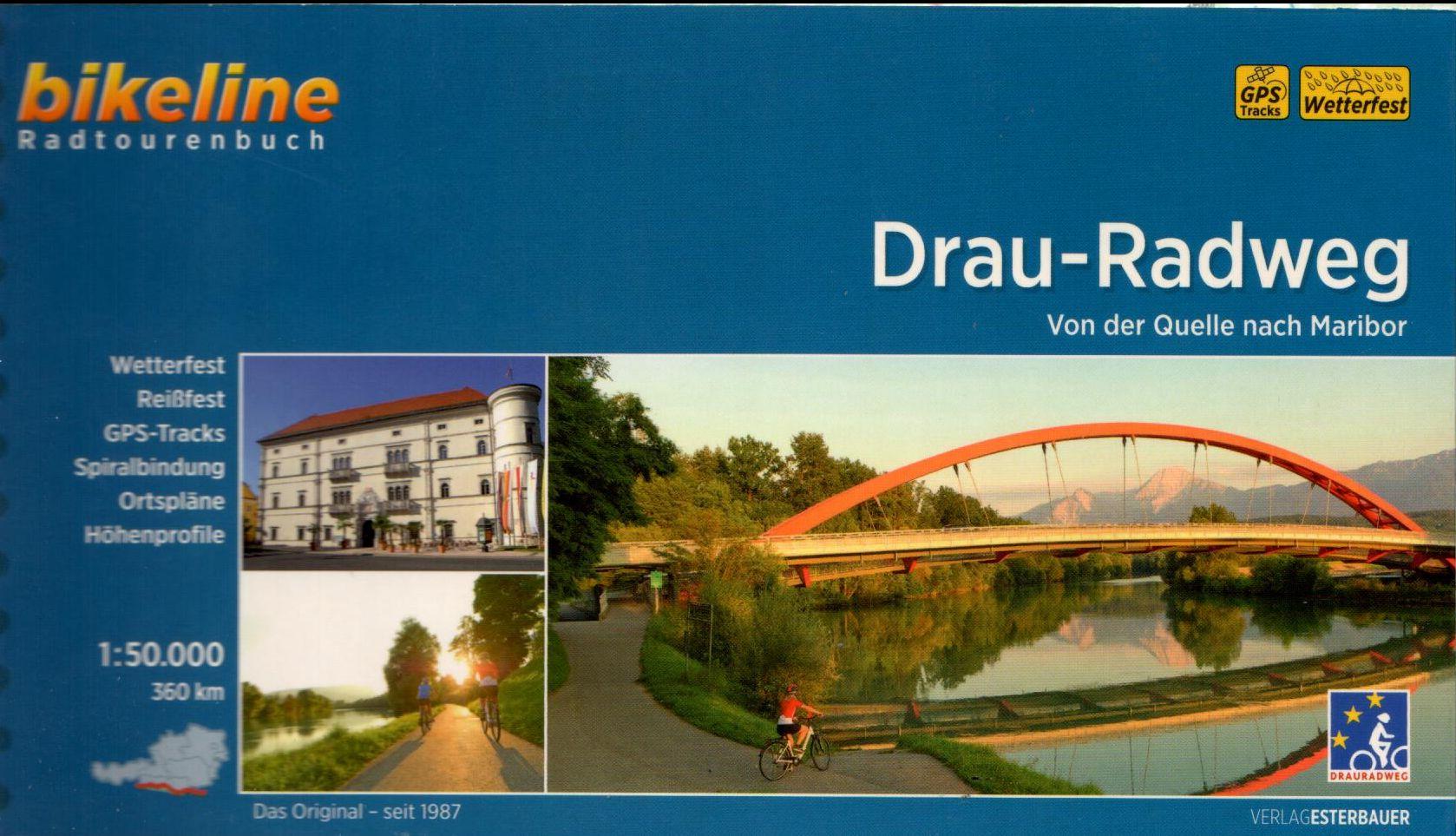 Spirál kötésű, 12 x 23 cm-es német nyelvű térképes utikönyv a Dráva forrásától Mariborig