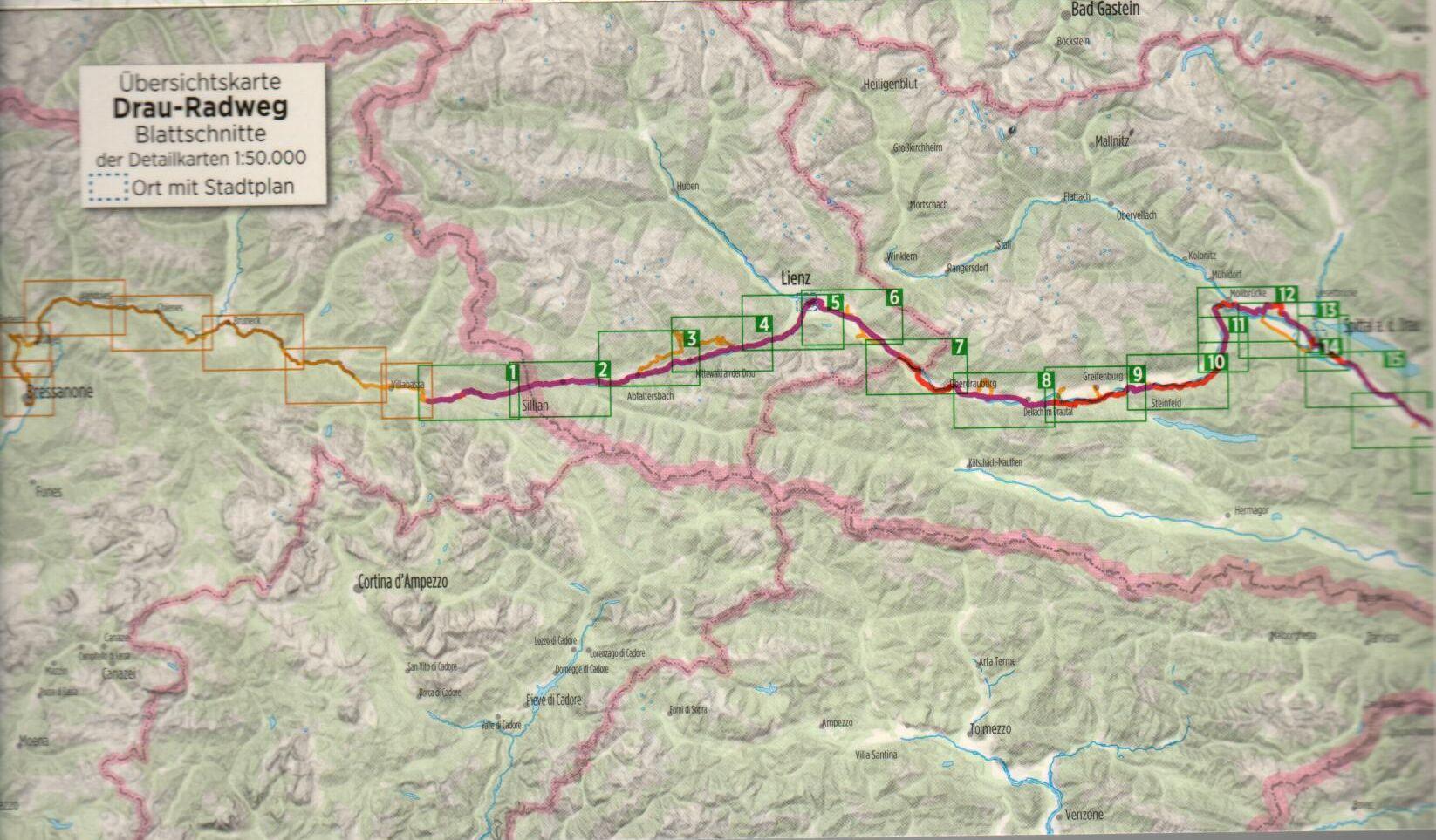 A Dráva-menti útikalauz áttekintő térképe (Ny)
