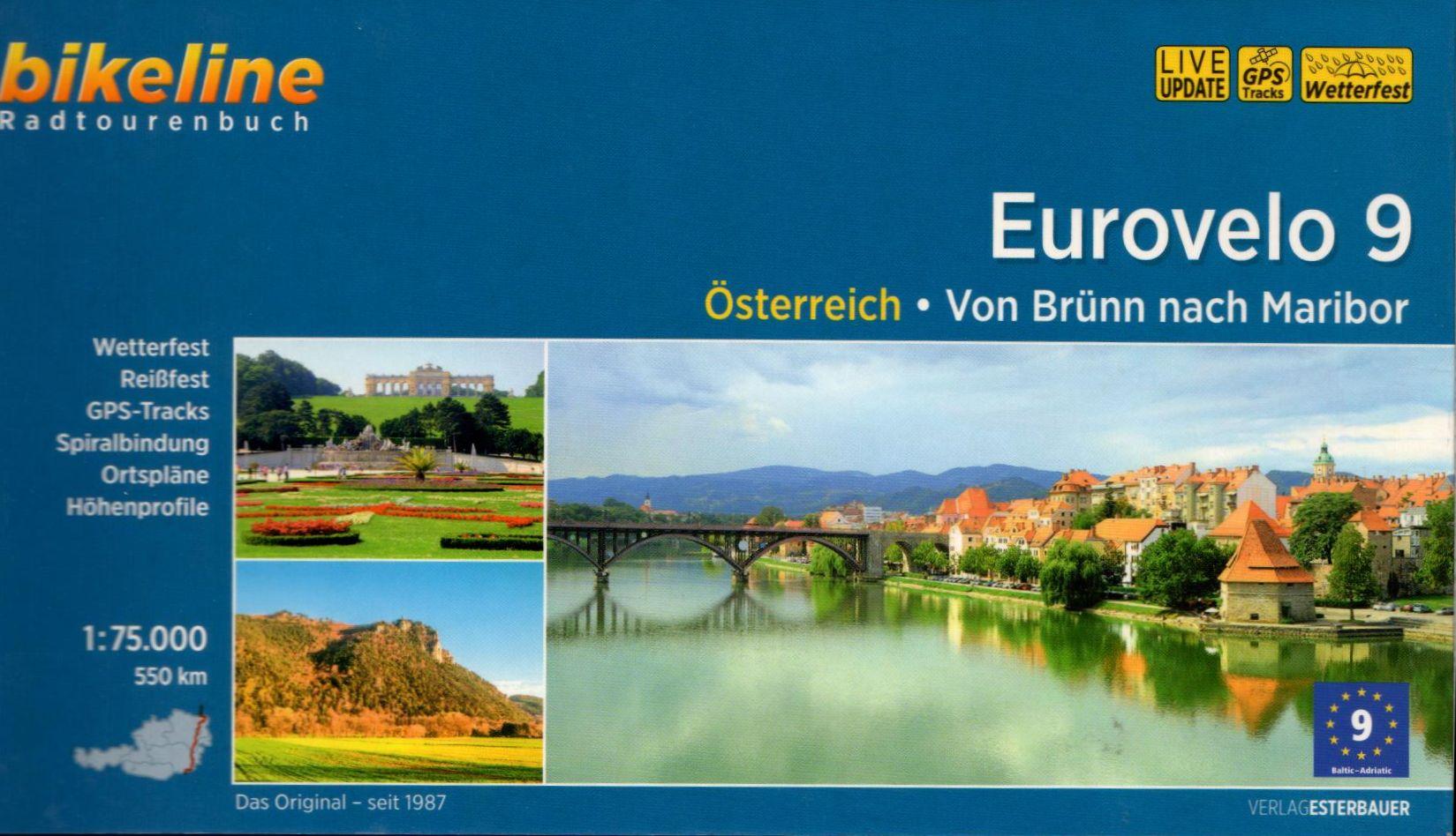 Spirál kötésű, 12 x 23 cm-es német nyelvű térképes utikönyv a Brünn-Bécs-Maribor útvonalról