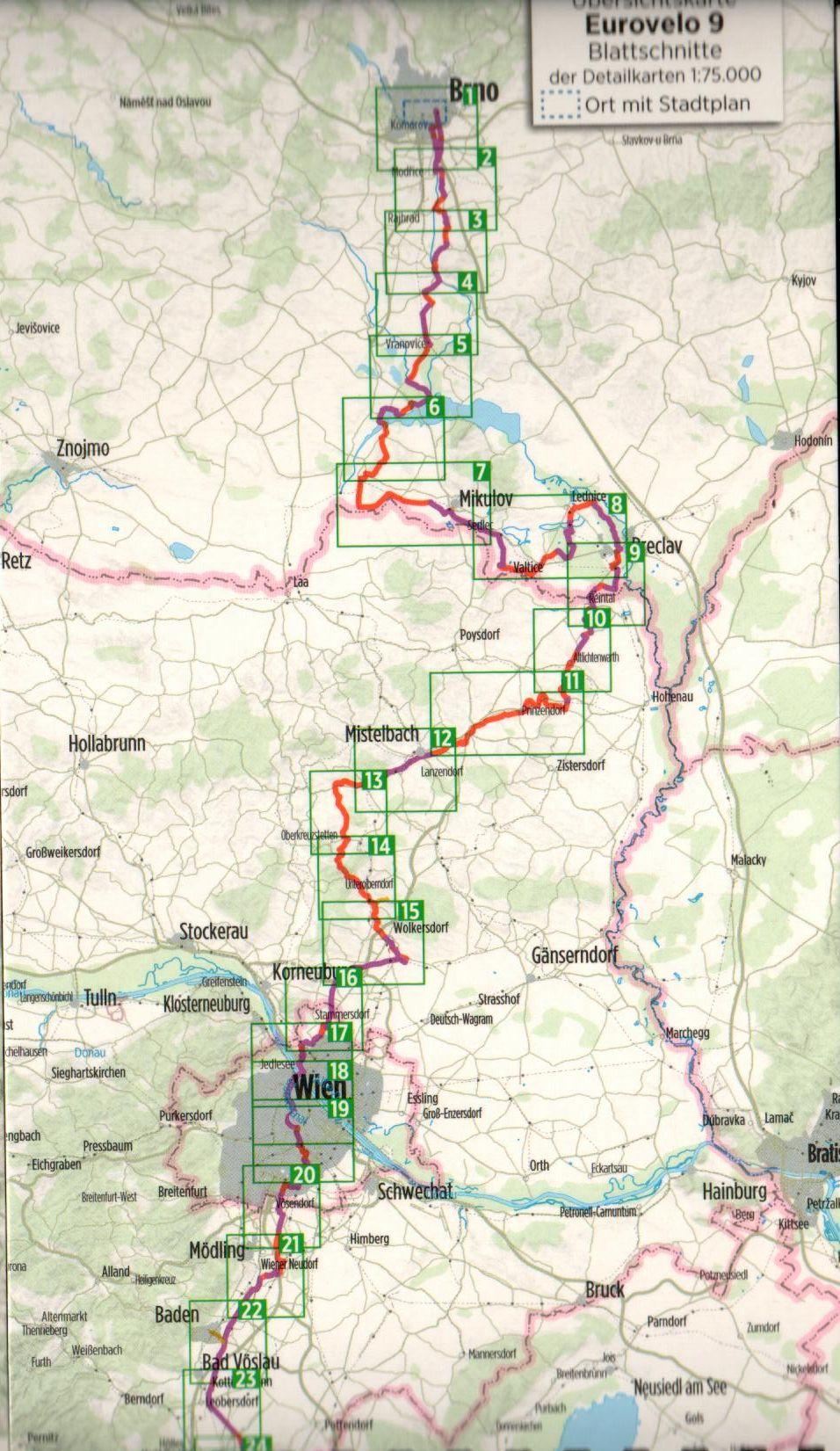 Az Euro 9-es biciklis útikalauz áttekintő térképe (É)