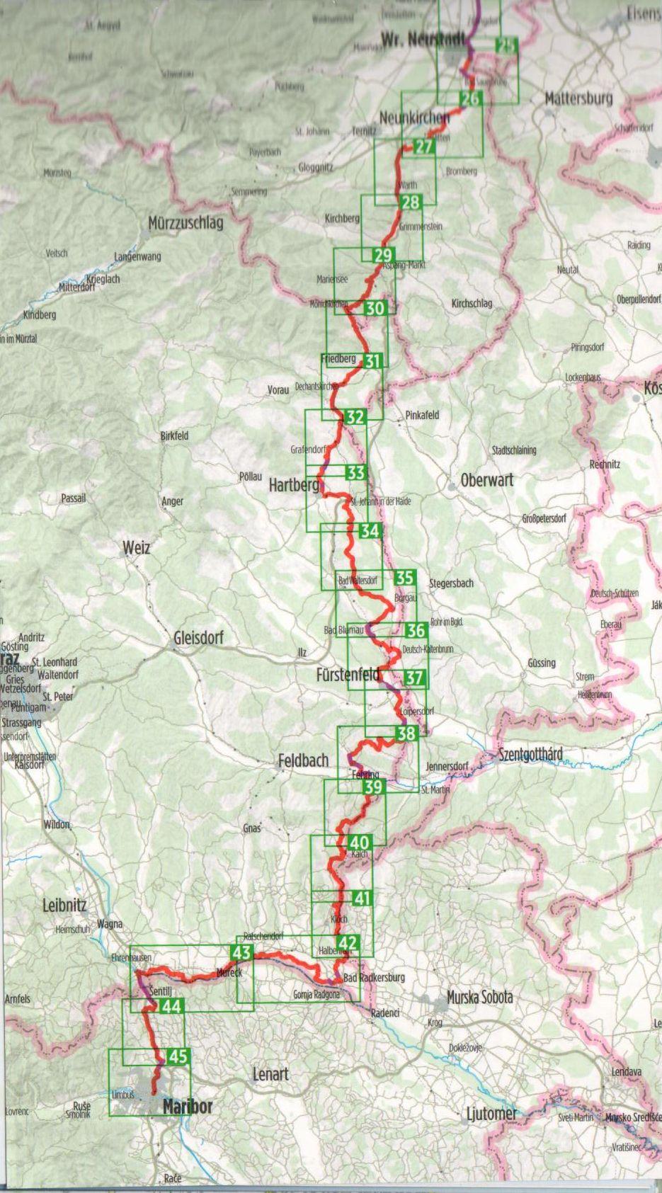 Az Euro 9-es biciklis útikalauz áttekintő térképe (D)