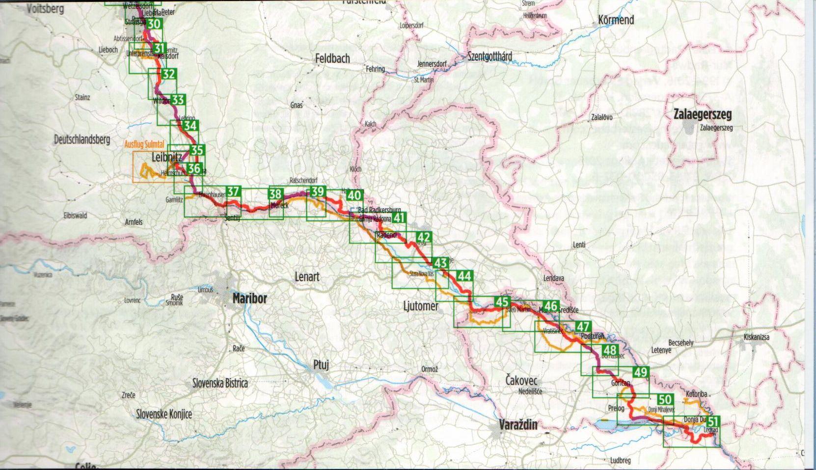A Mura-menti biciklis útikalauz áttekintő térképe (K)