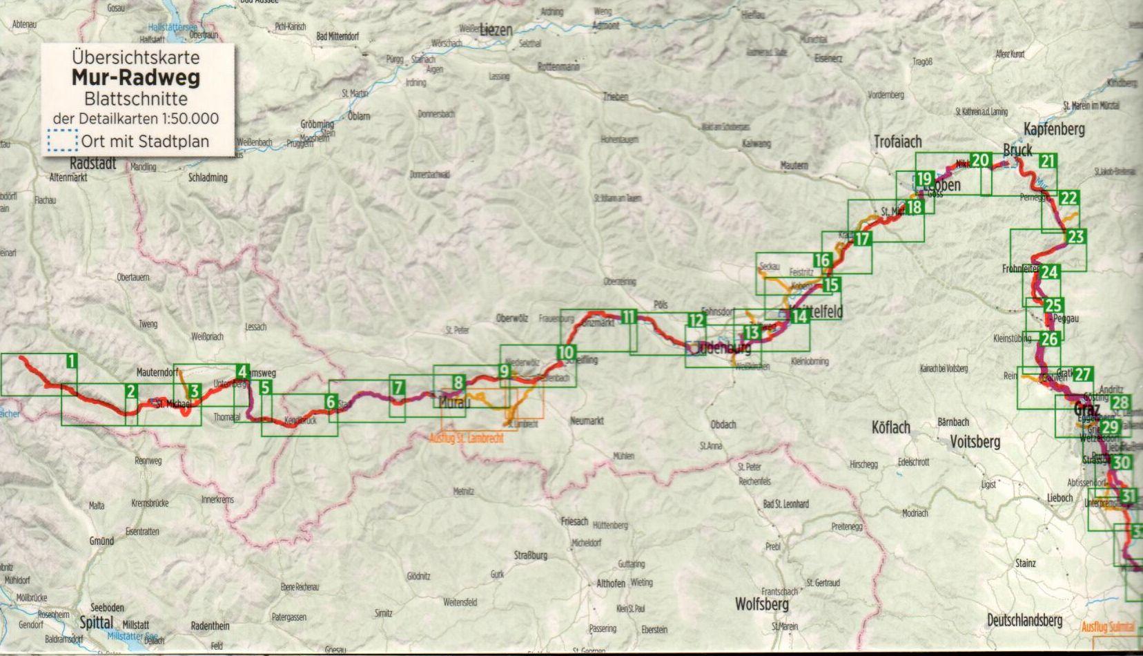 A Mura-menti biciklis útikalauz áttekintő térképe (Ny)