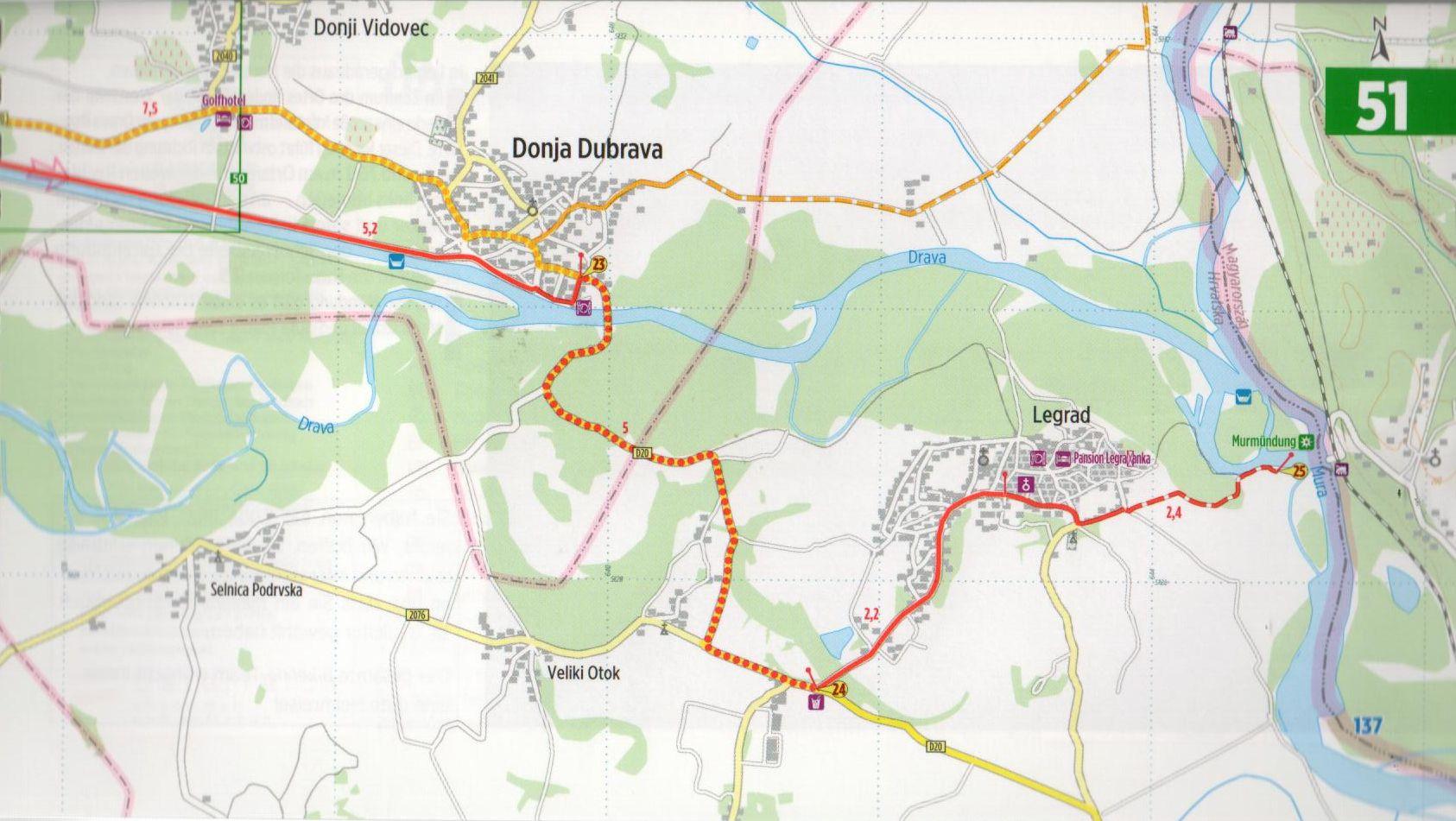 A Mura-menti biciklis útikalauz mintalapja