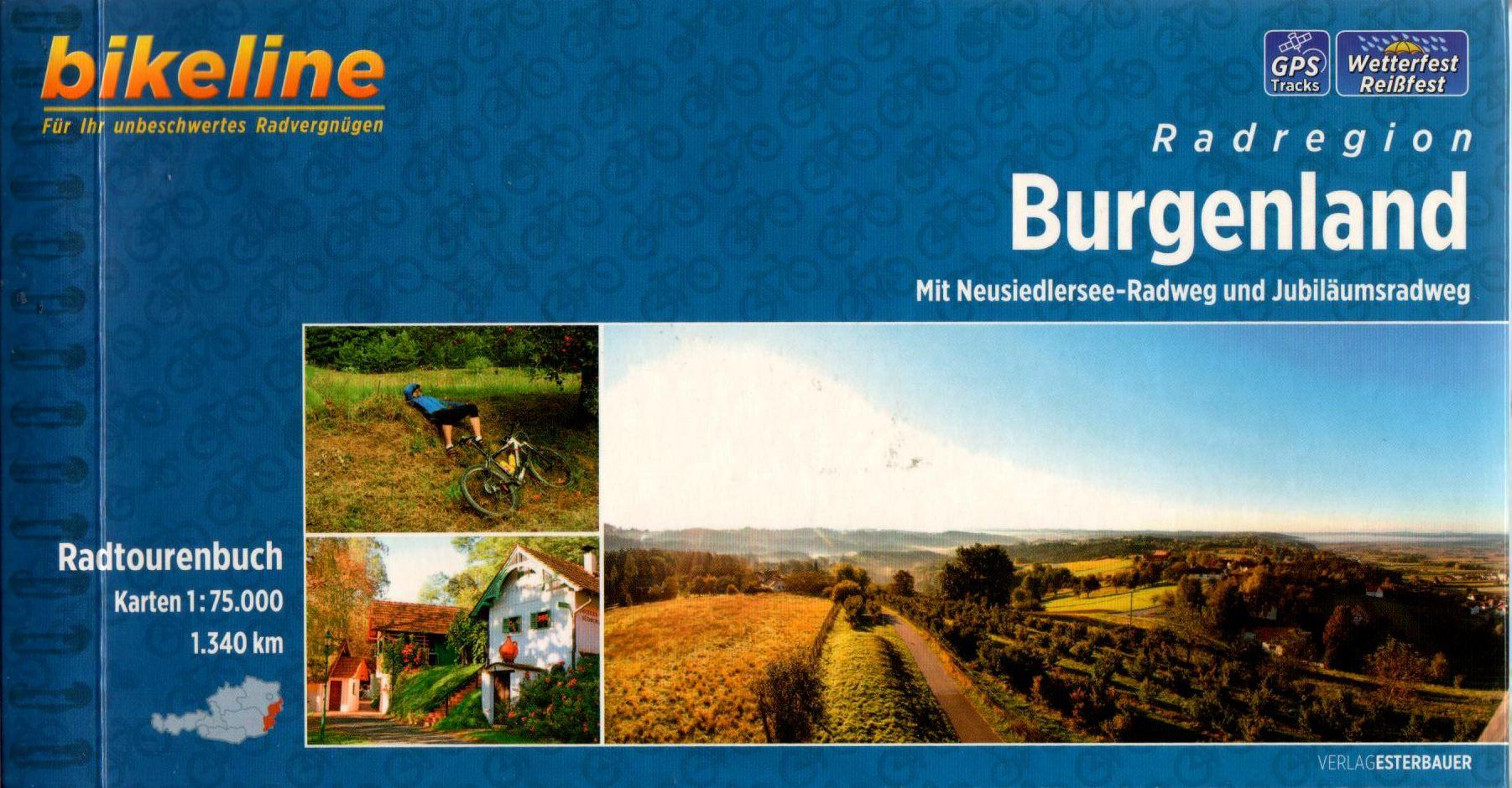 Spirál kötésű, 12 x 23 cm-es német nyelvű térképes utiköny Burgenland kerékpáros túraútvonalairól, benne a Fertő-kerülő túrával