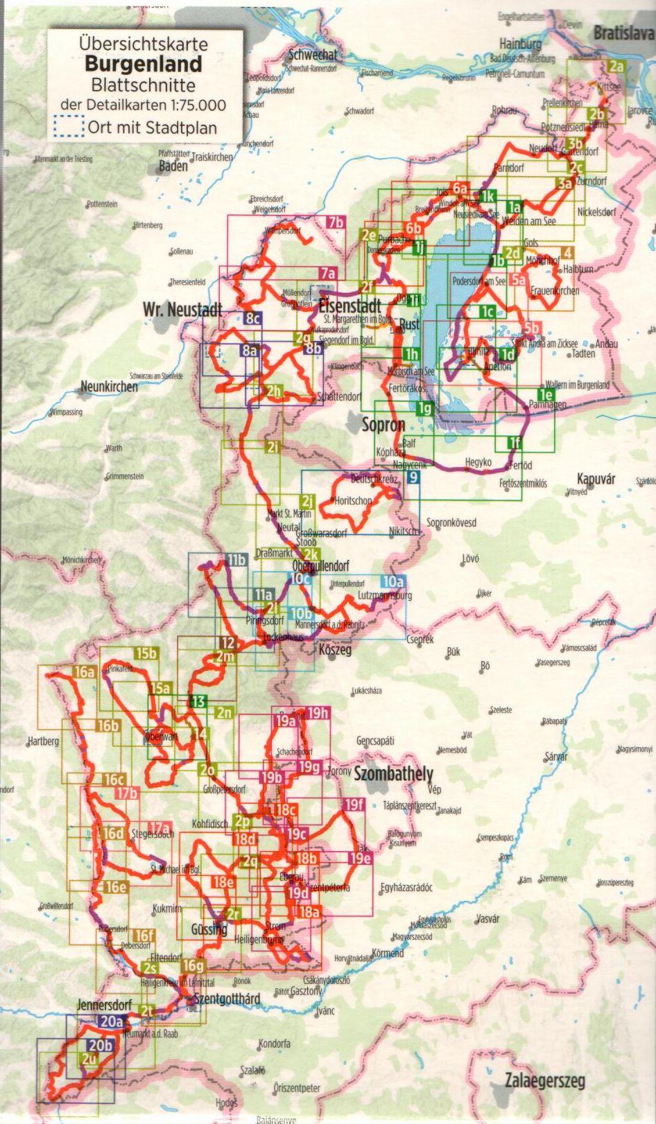 A Burgenland útikalauz áttekintő térképe