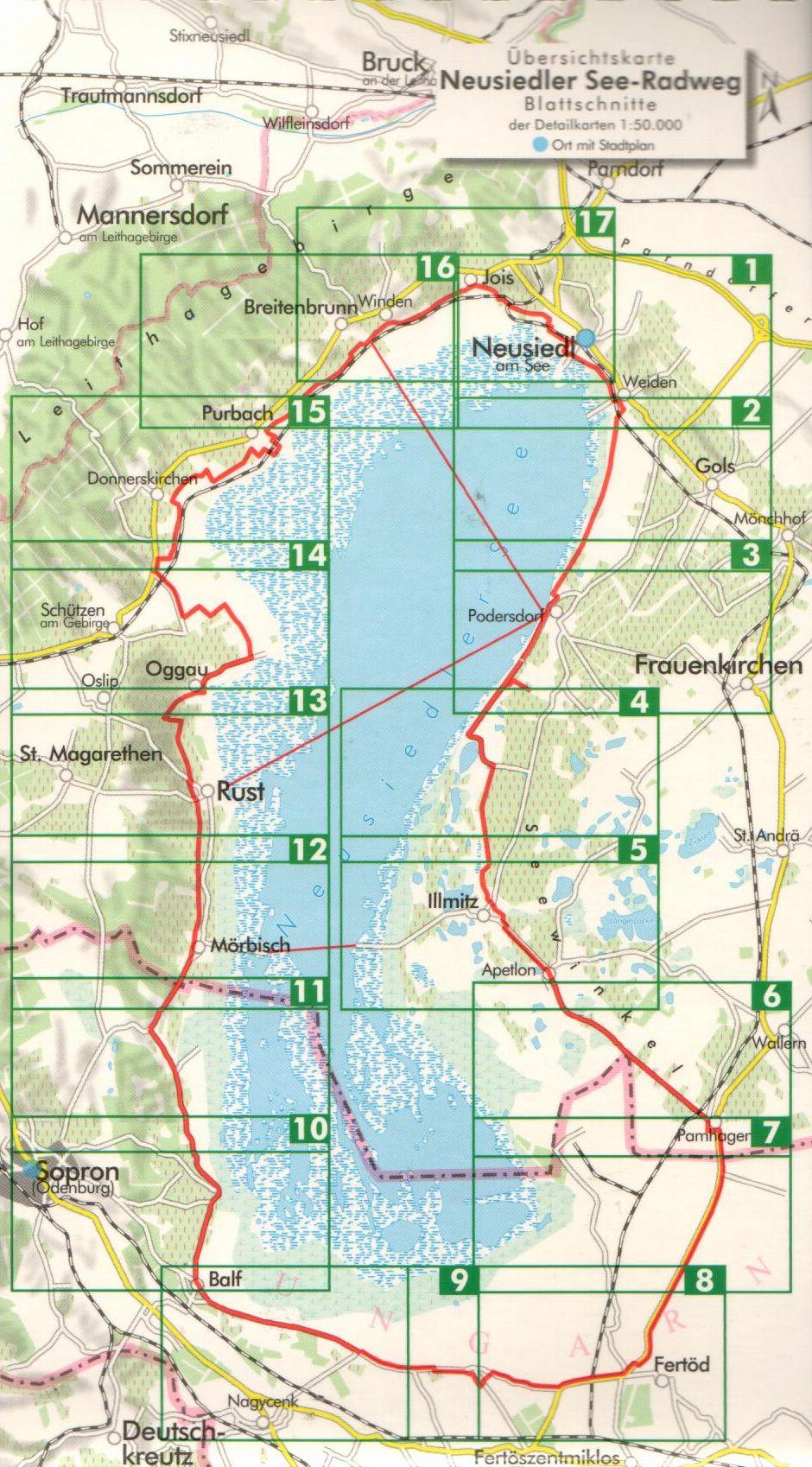 A Fertő biciklis útikalauz áttekintő térképe
