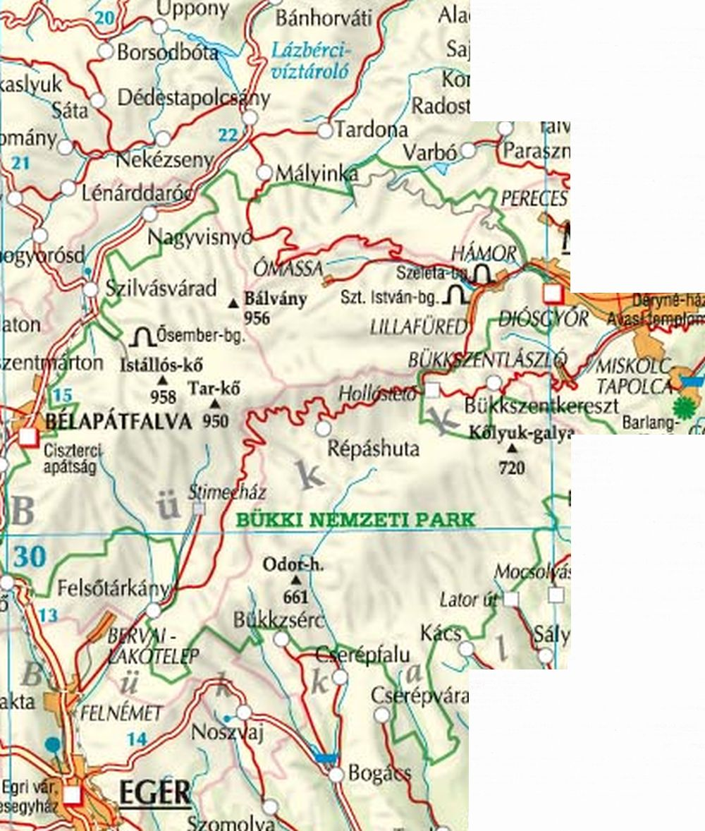A Bükk térkép által lefedett terület