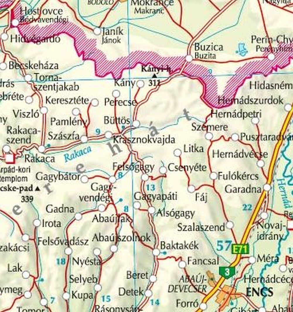 A Cserehát térkép által lefedett terület