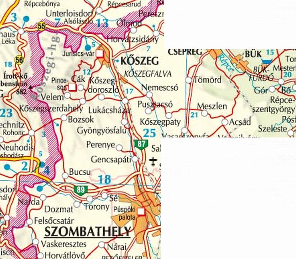 A Kőszegi-hegység 1:40.000 térkép által lefedett terület