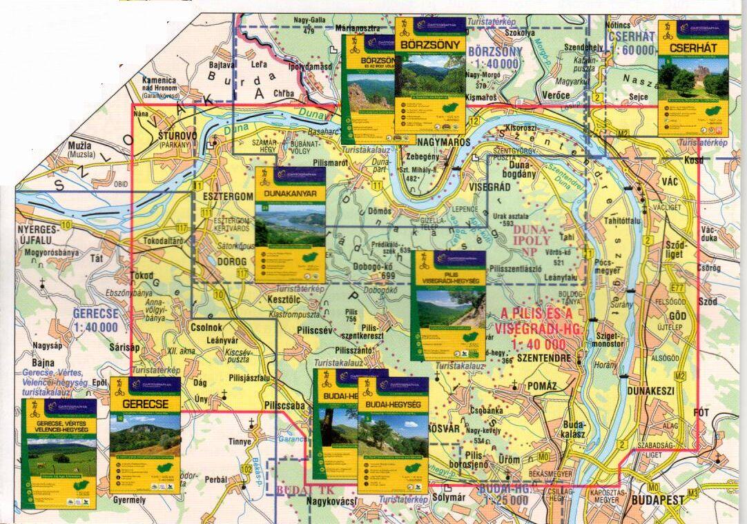 A Pilis 1:40.000 térkép által lefedett terület