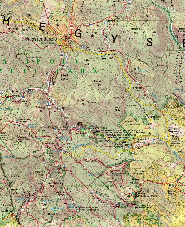 A Pilis 1:40.000 térkép mintakivágata
