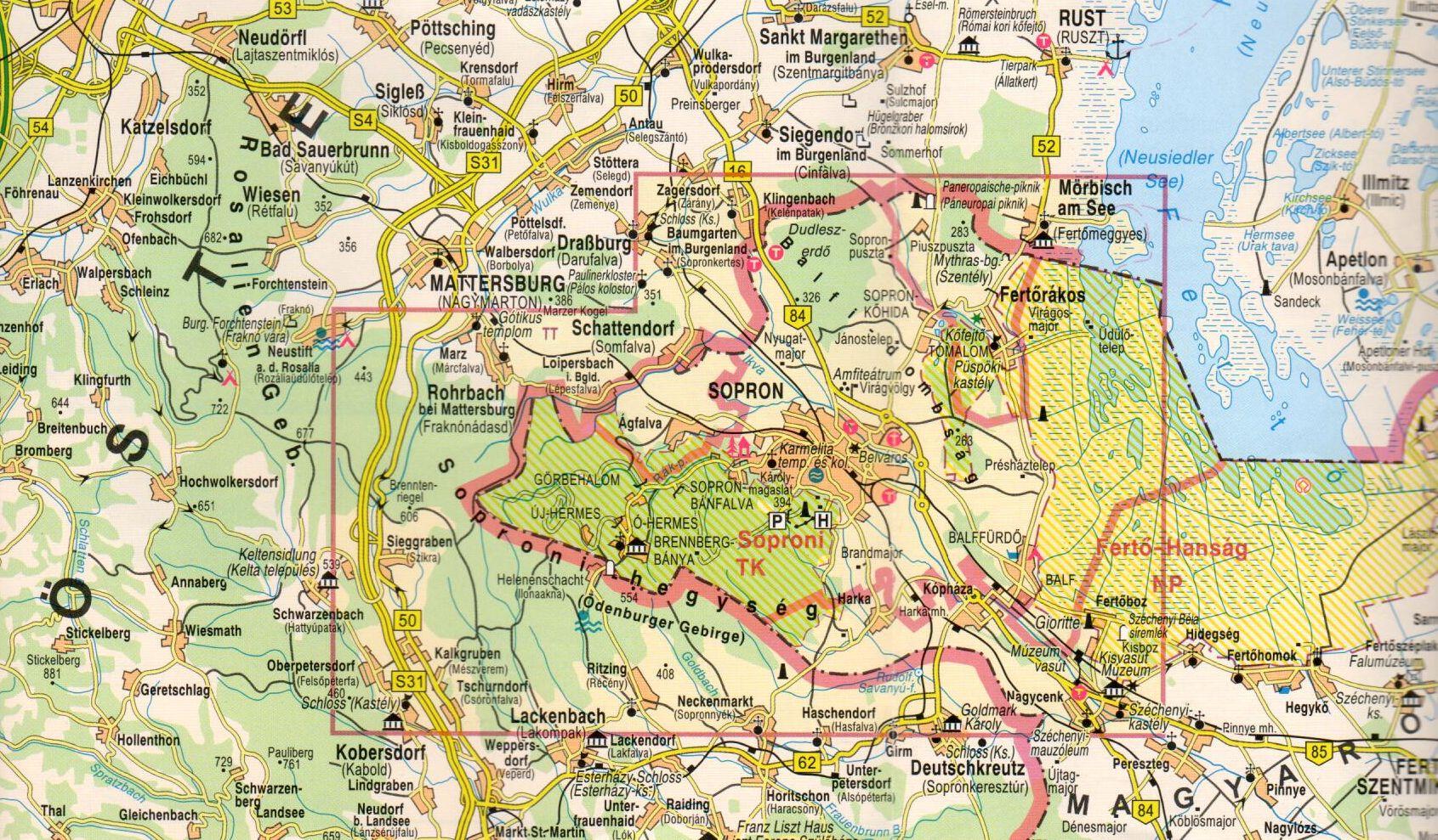 A Soproni-hegység által lefedett terület