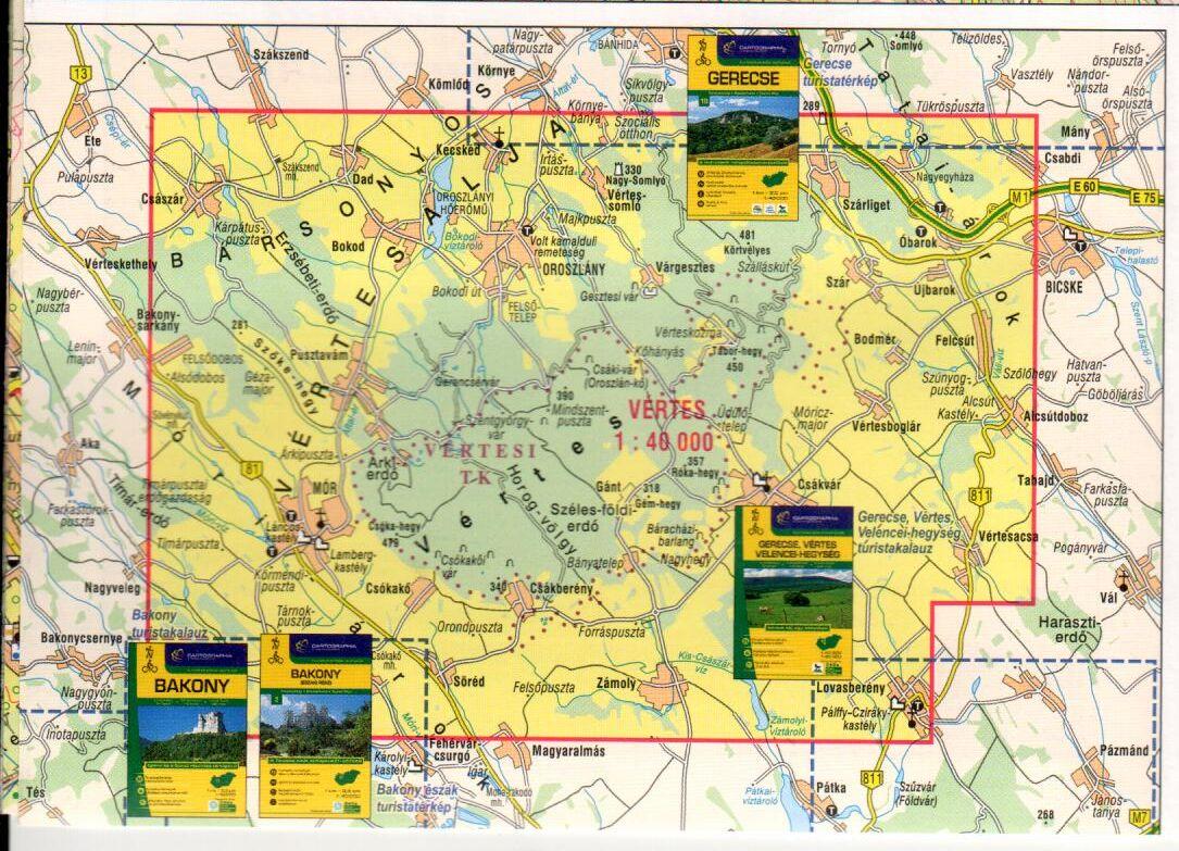 A Vértes 1:40.000 térkép által lefedett terület