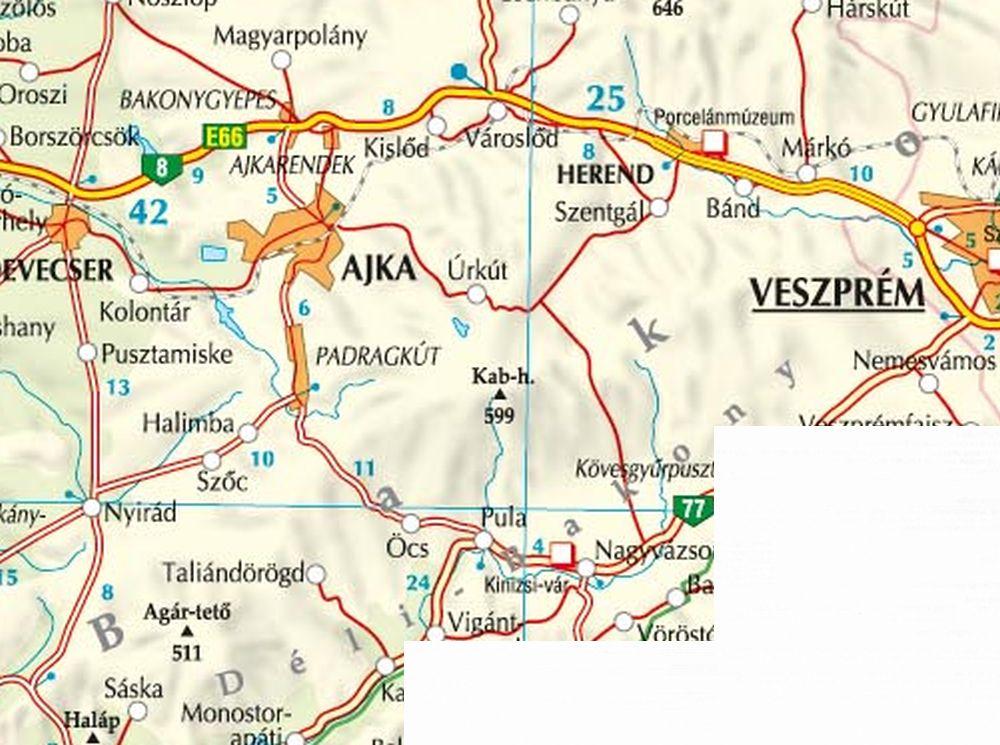 A Bakony-Dél térkép által lefedett terület