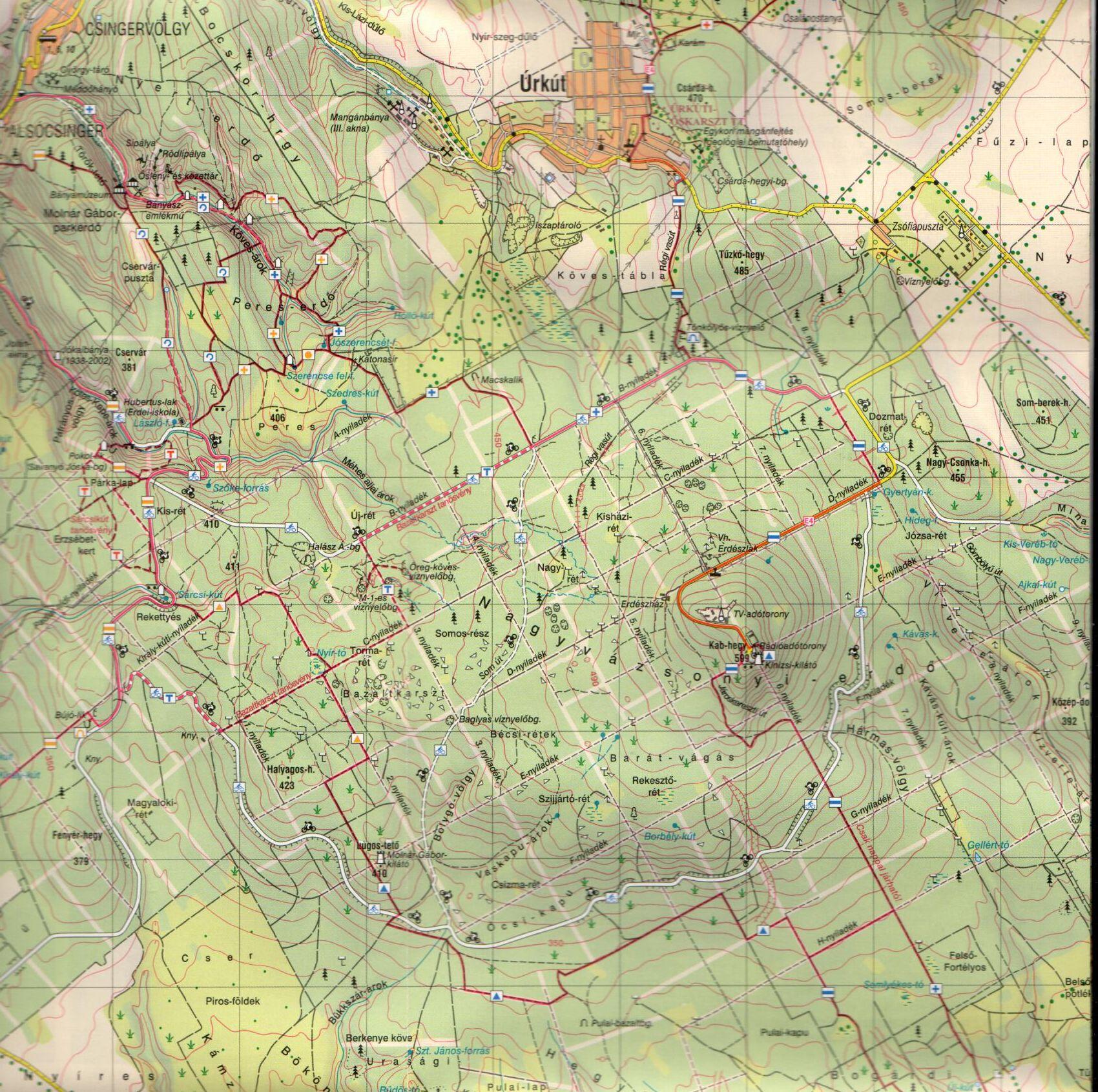 A Bakony-Dél térkép mintakivágata