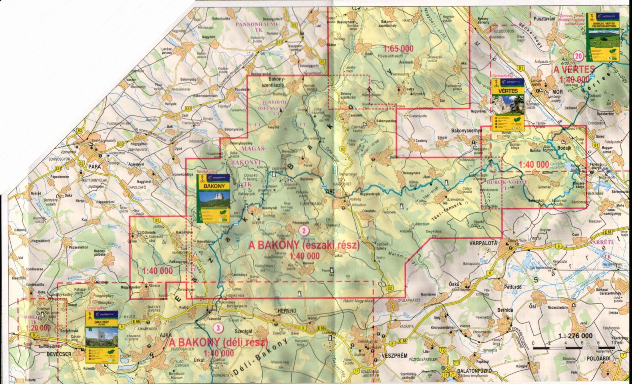 A Bakony-Észak, (ill. részben a Bakony-Dél) térképek által lefedett terület