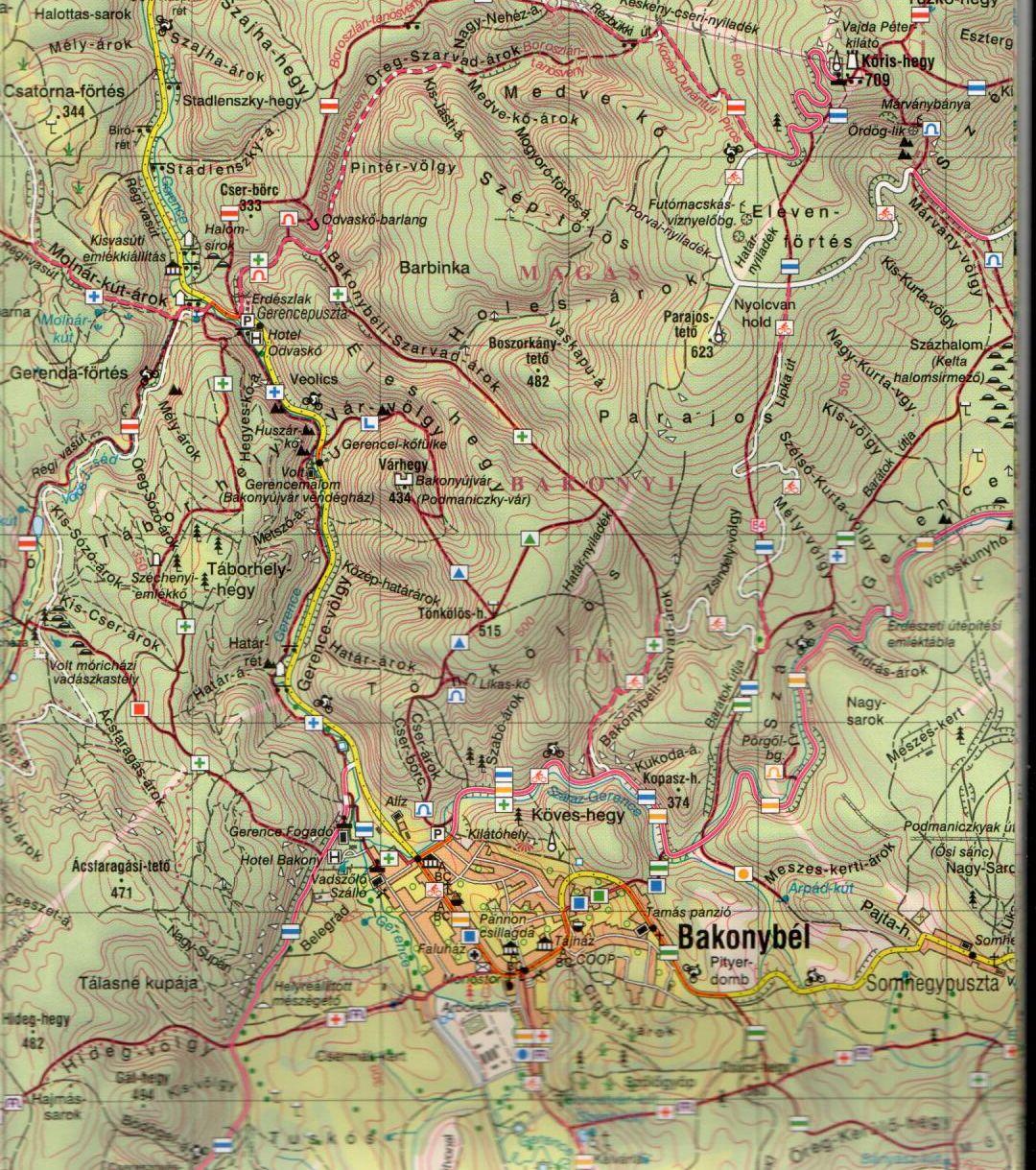 A Bakony -Észak térkép mintakivágata