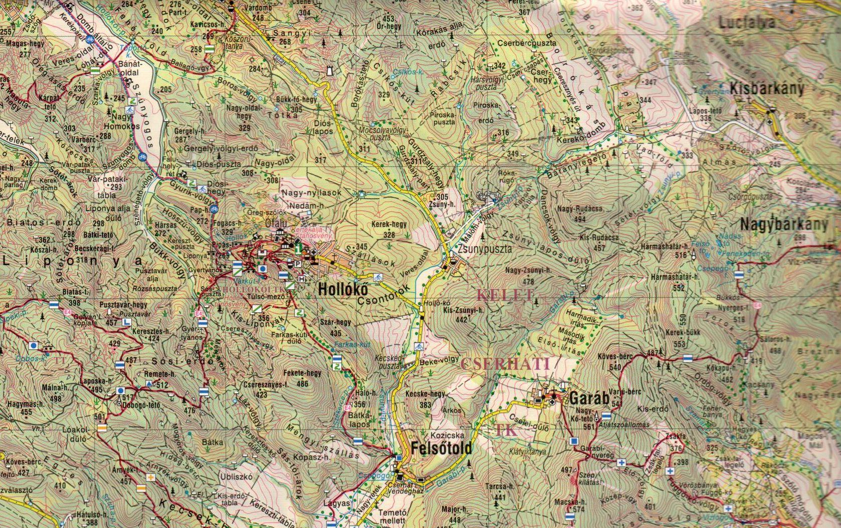 A Cserhát térkép mintakivágata 1:60.000