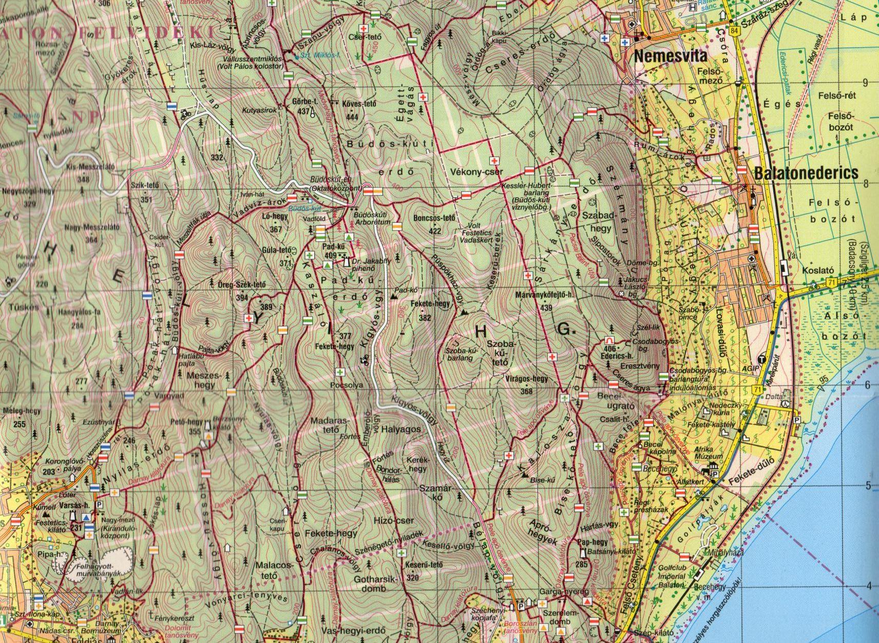 A Keszthelyi-hegység 1.40.000 térkép mintakivágata