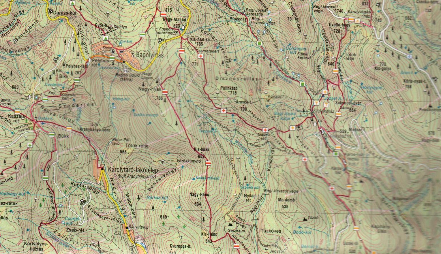 A Mátra 1:40.000 térkép mintakivágata