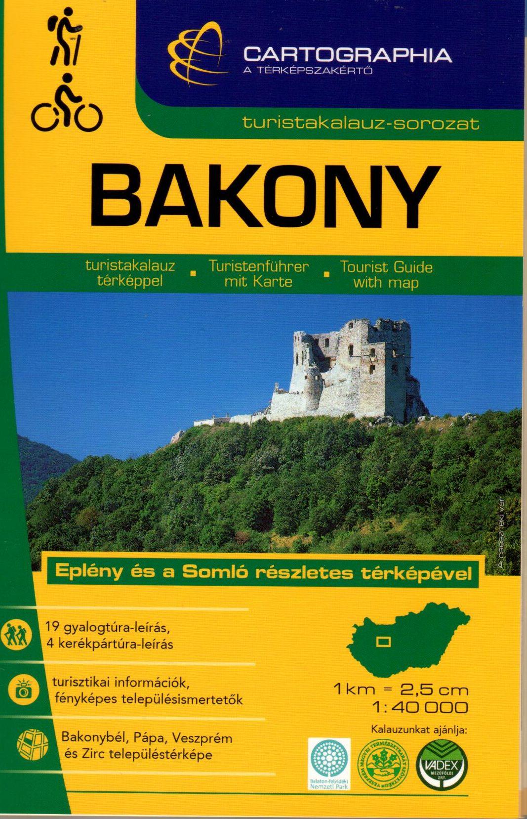 Eplény és a Somló részletes turistatérképe, Bakonybél, Pápa, Veszprém és Zirc várostérképe. 19 gyalogos és 4 kerékpáros túraleírás.