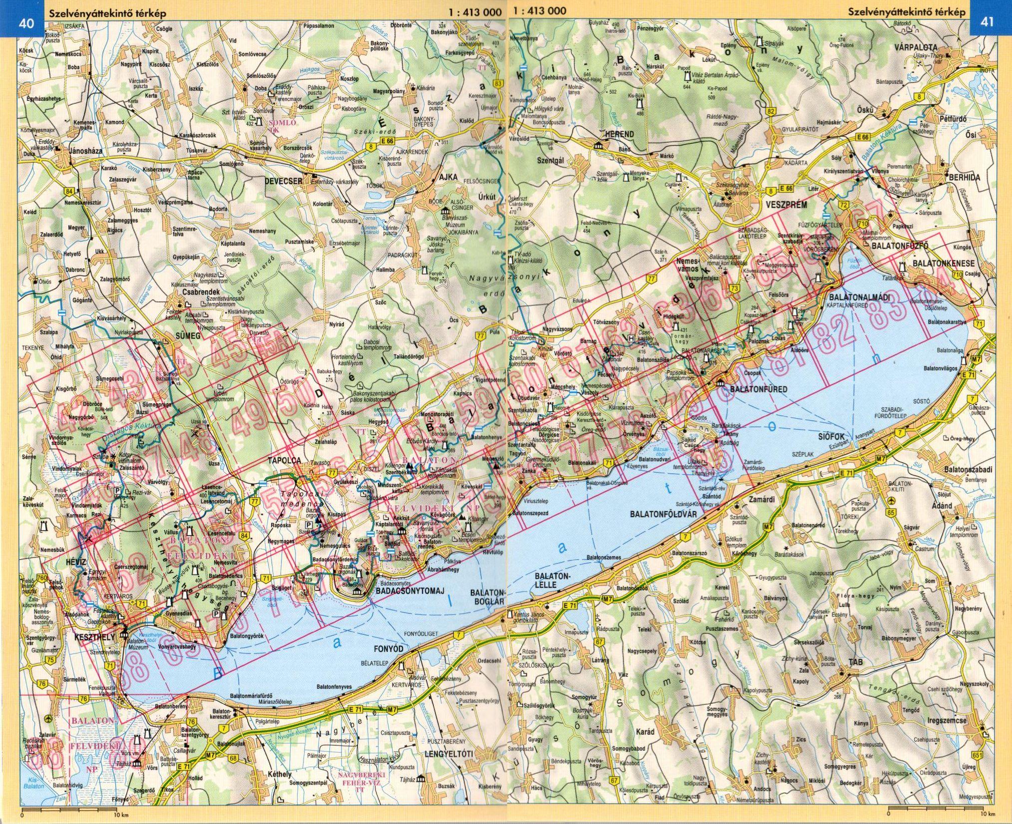 A Balaton, Keszthelyi-hg atlasz áttekintő térképe