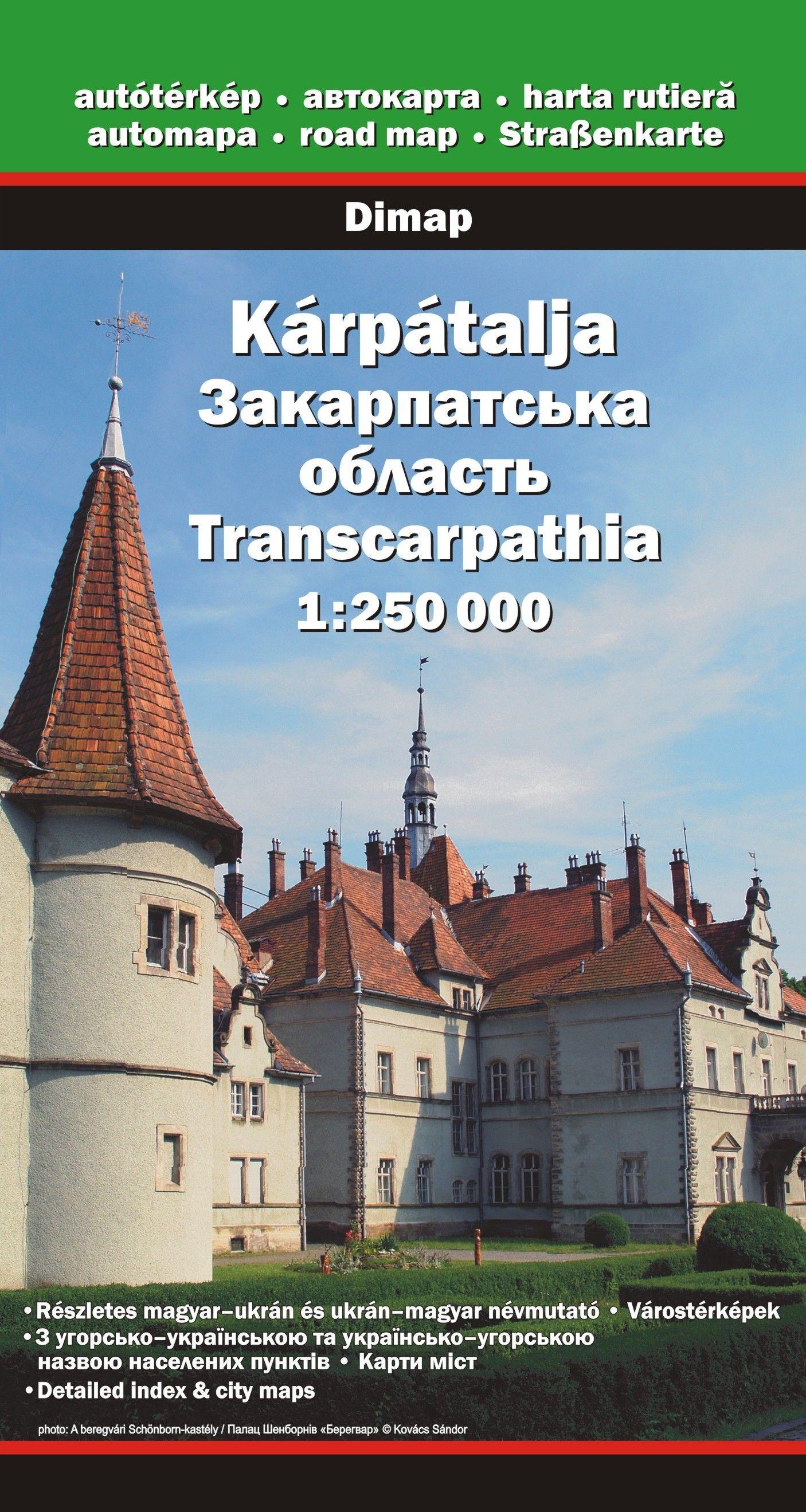 Történelmi magyar nevekkel, Beregszász, Ungvár, Husztés Munkács várostérképpel