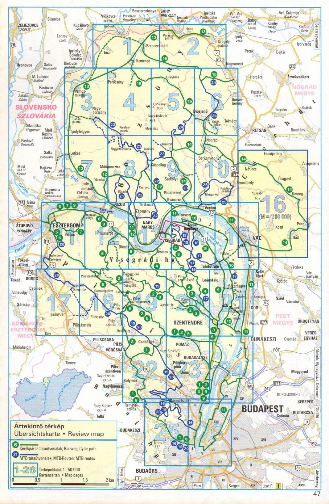 Frigória Dunakanyar atlasz: áttekintő térkép