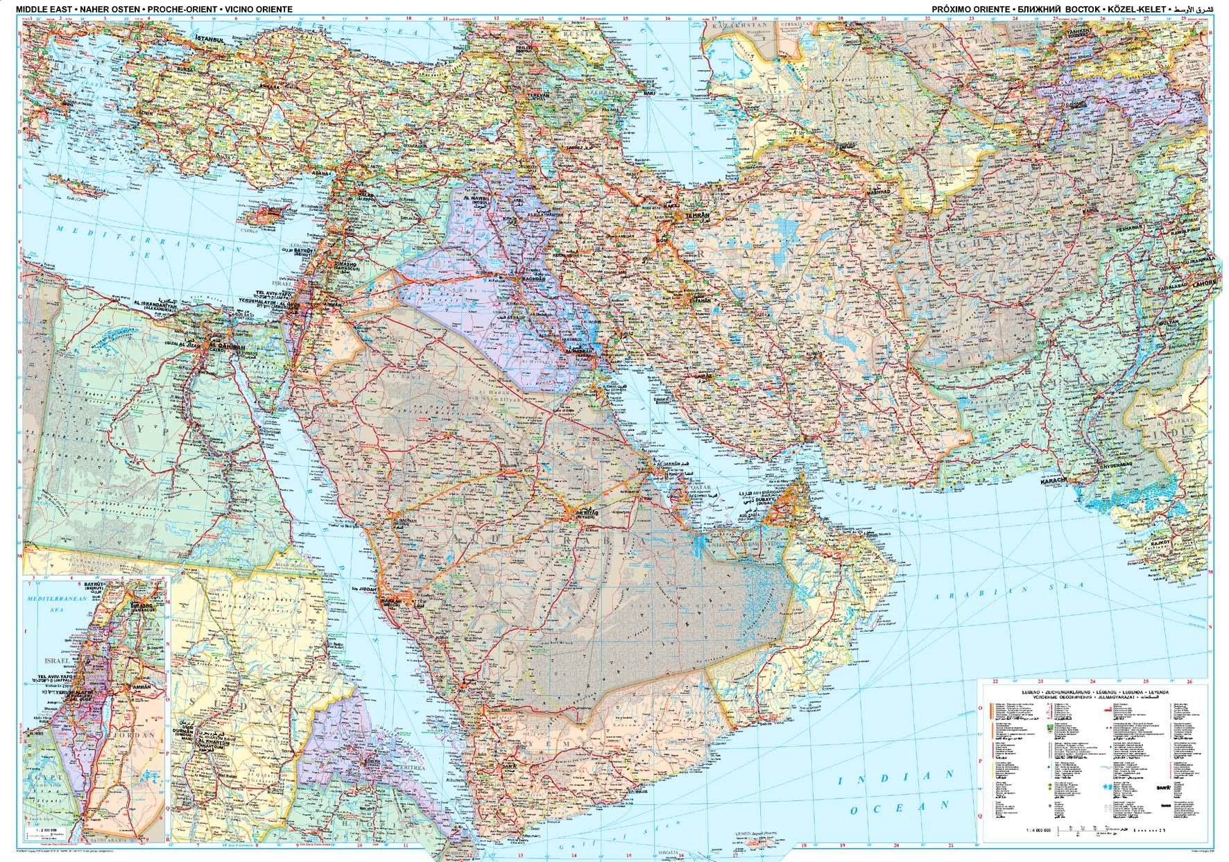 A Közel-Kelet térkép által lefedett terület