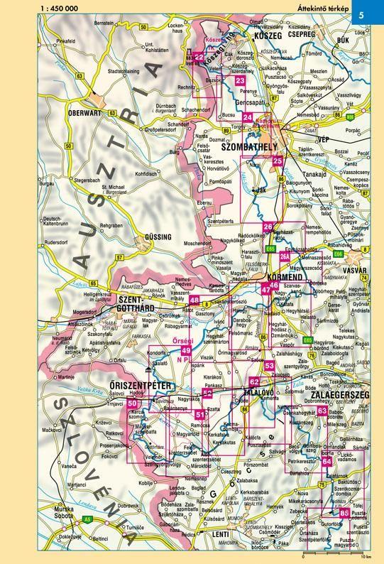 Kéktúra III. áttekintő térkép nyugati rész