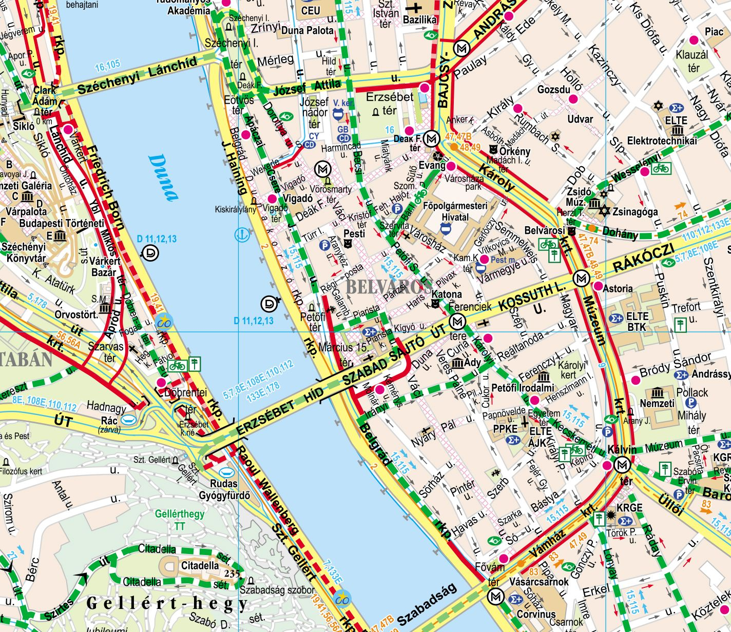 Budapest biciklis térkép mintakivágat 2