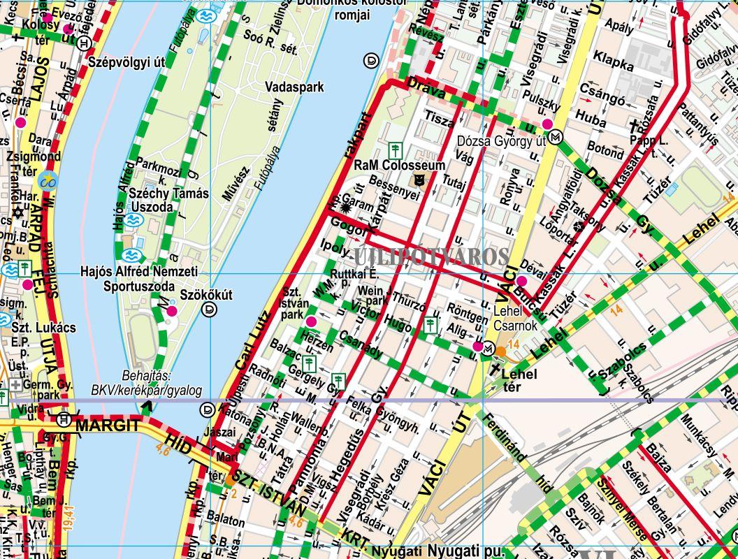 Budapest biciklis térkép mintakivágat 1
