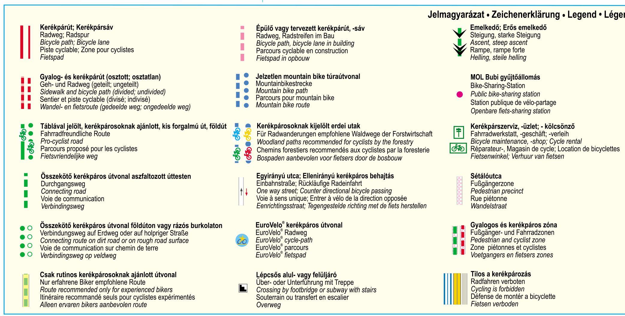 Budapest biciklis térkép jelmagyarázat 1