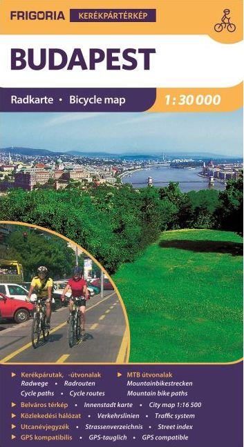 Budapest kerékpáros térképe utcajegyzékkel, közlekedési hálózattal