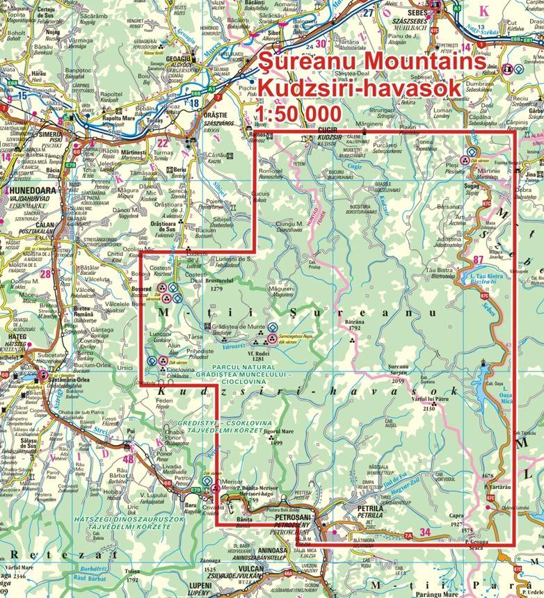 A Kudzsiri-havasok térkép által lefedett terület