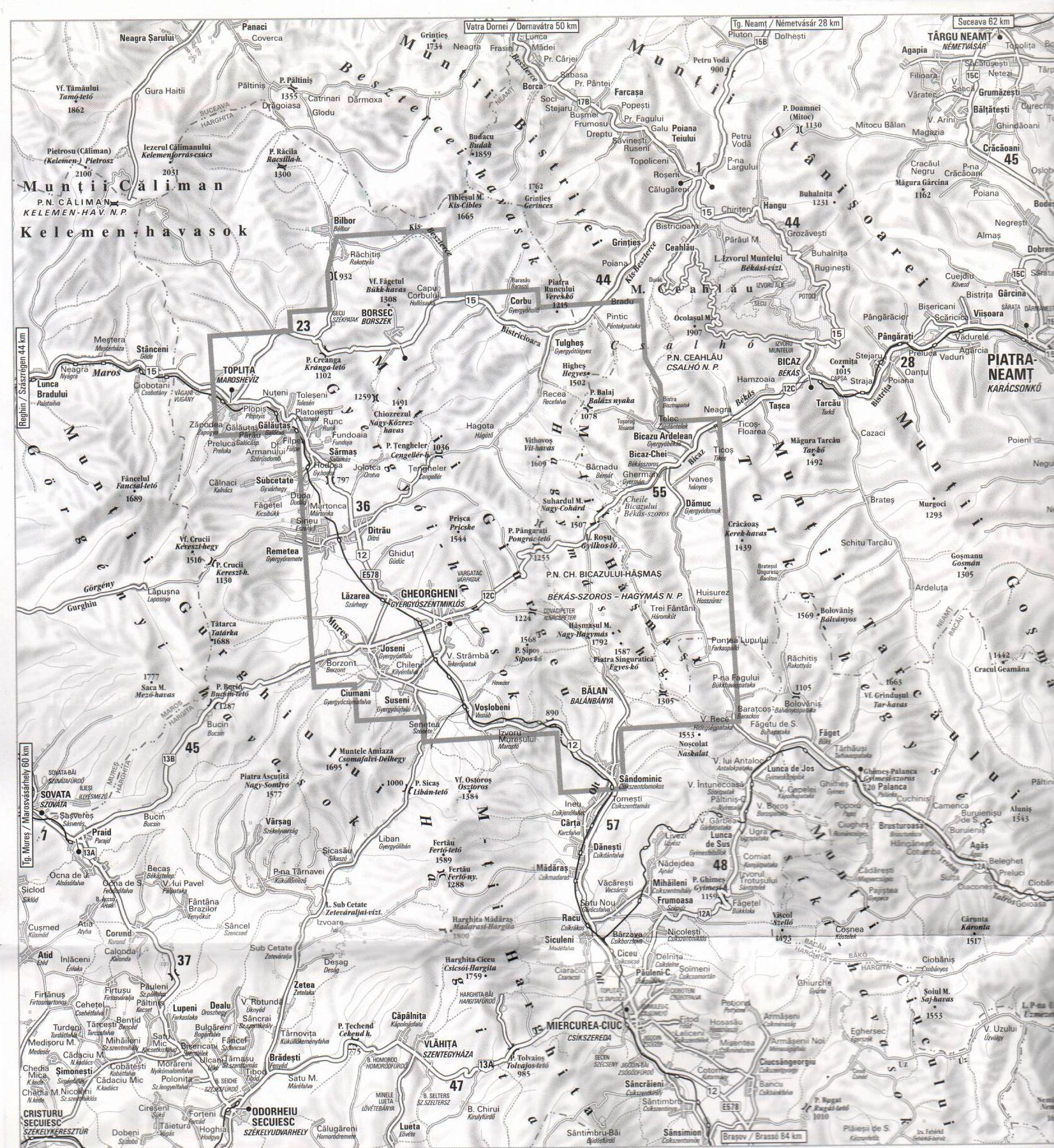 A Gyergyói-havasok térkép által lefedett terület