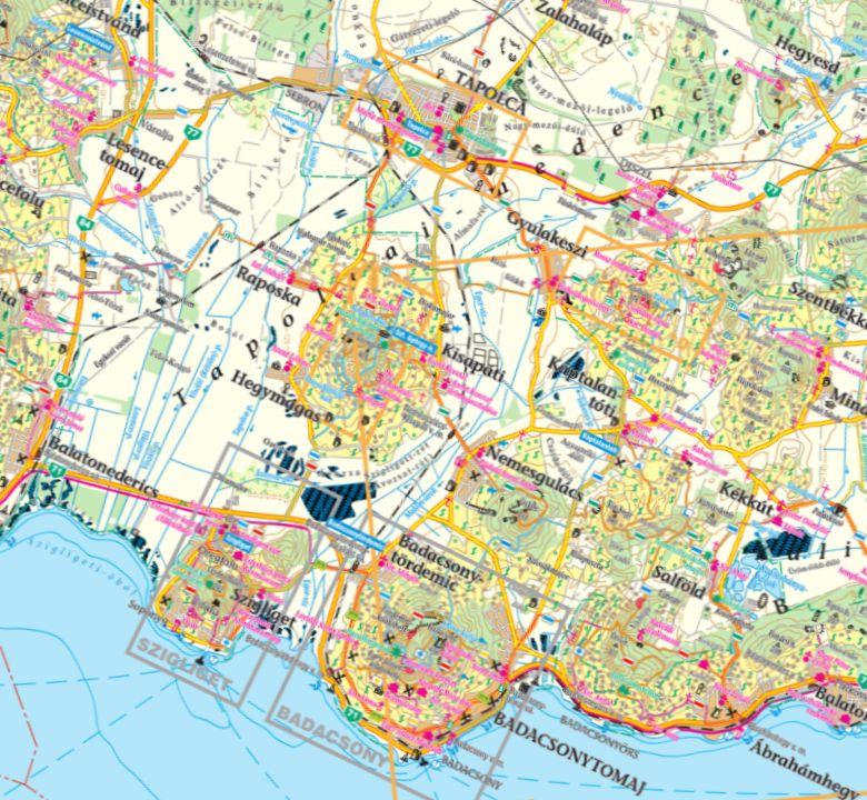A Tapolcai-medence térkép által lefedett terület