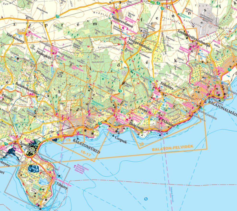 A Balatonfüred környéke térkép által lefedett terület