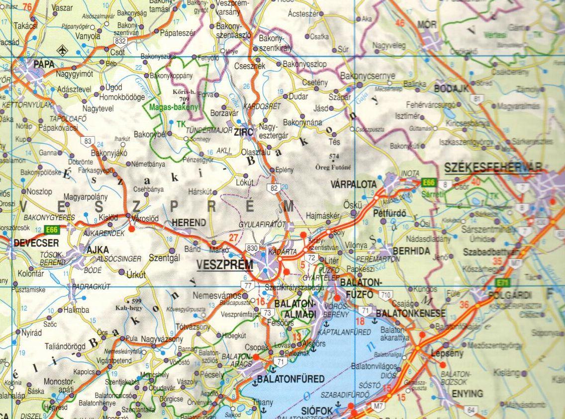 Magyarország autótérkép mintakivágat