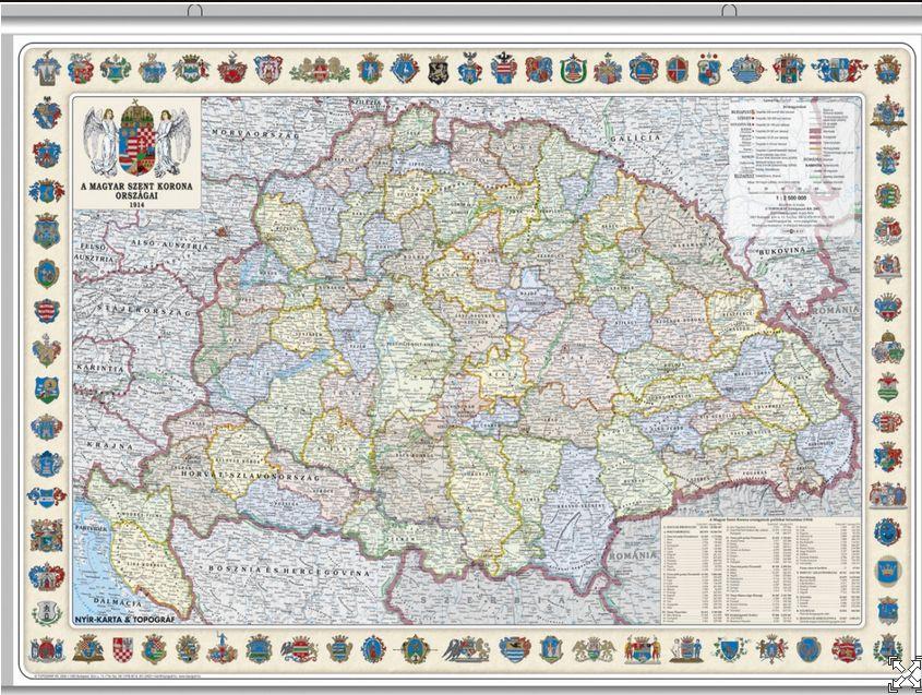 124 x 84 cm, írható-letörölhető közigazgatási térkép az 1914-es állapotnak megfelelően megyecímerekkel, alukeretben