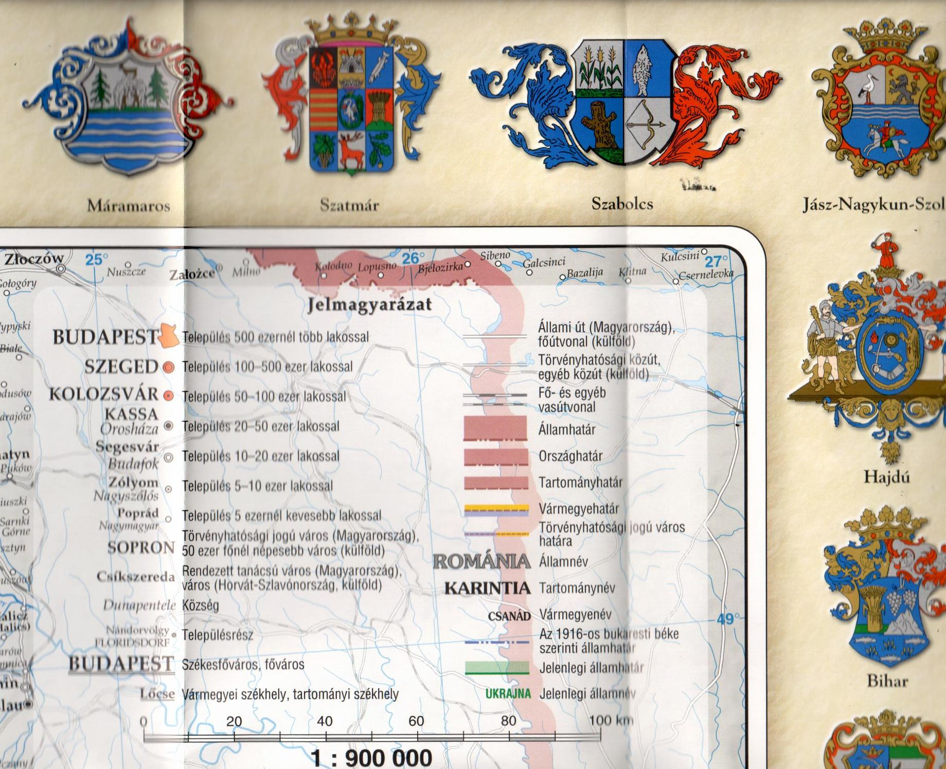 A Szent Korona országai -1914: jelmagyarázat