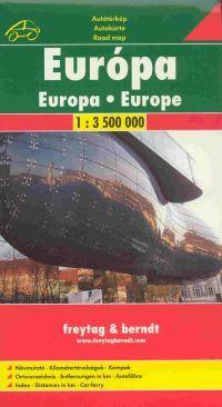Európa autótérképe részletes településjegyzékkel és négy nyelvű jelmagyarázattal