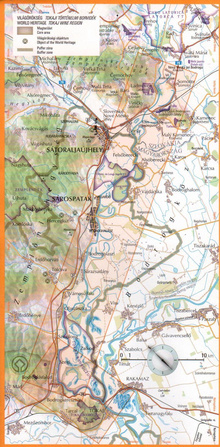 A Bodrog térkép által lefedett terület