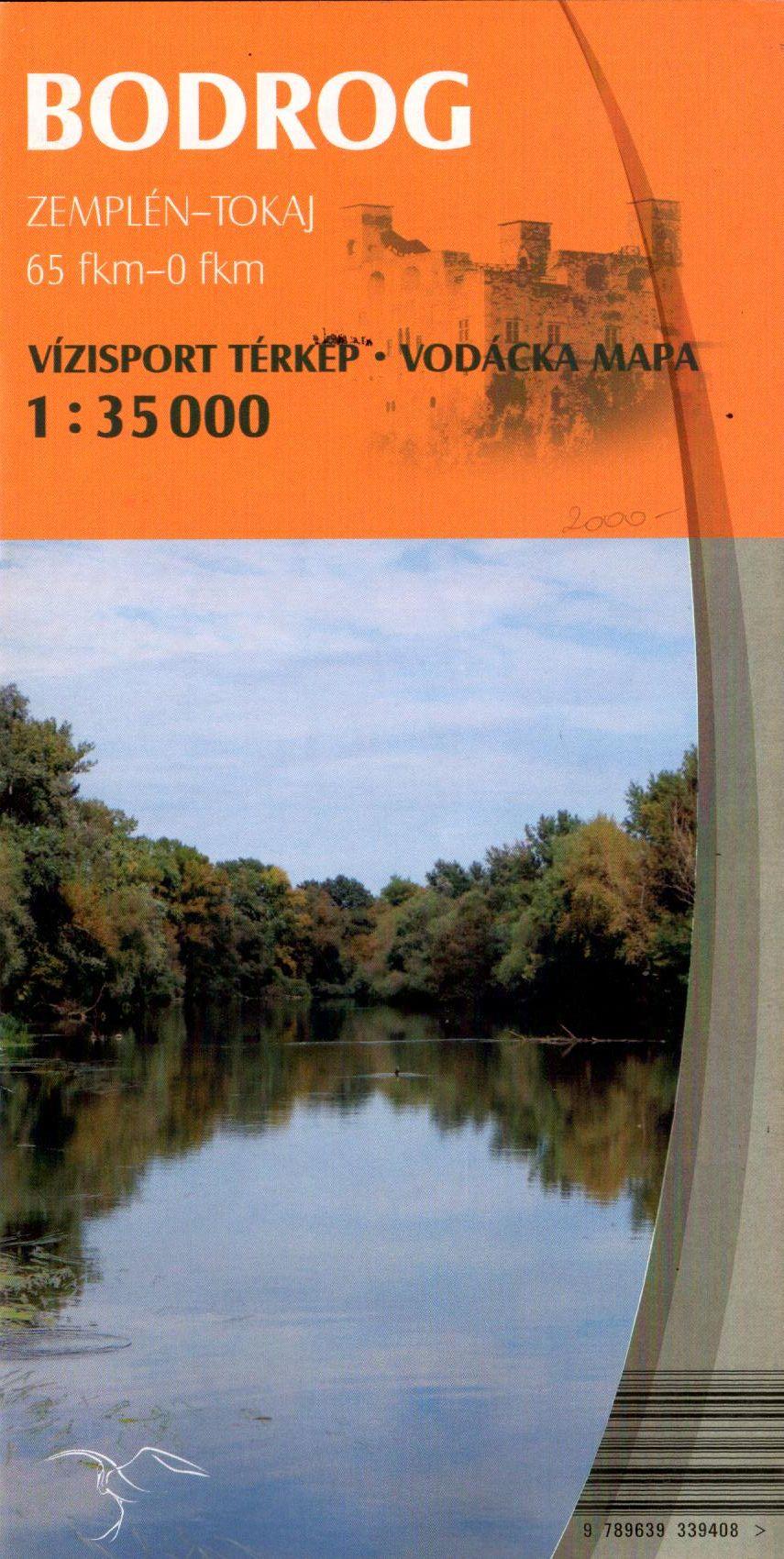 Bodrog vizisport térkép Zempléntől (65 fkm) -Tokajig (0 fkm)