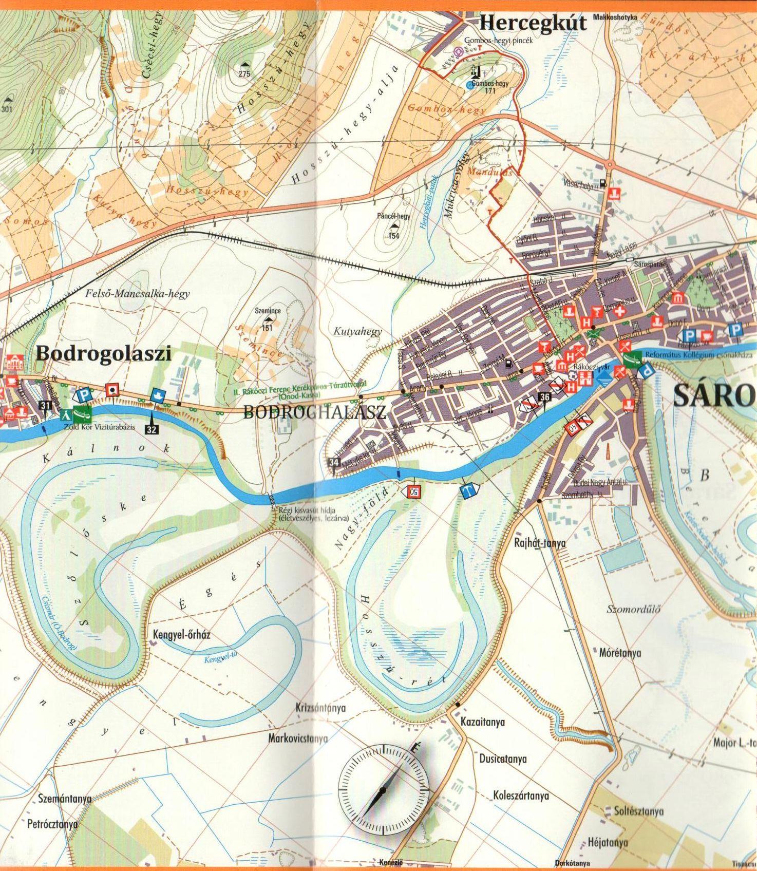 A Bodrog térkép mintkivágata
