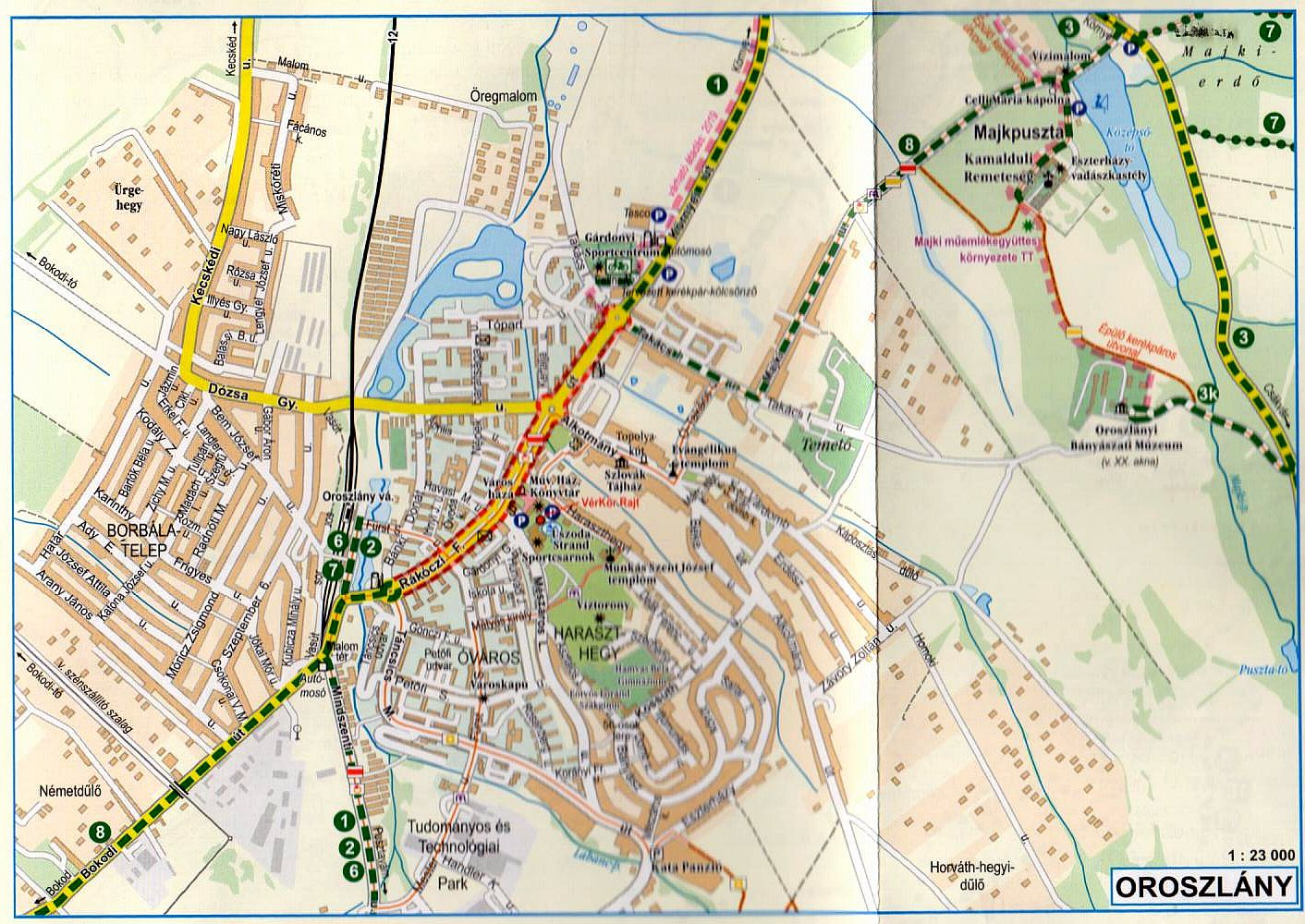 Vértes biciklis térkép: Oroszlány várostérkép